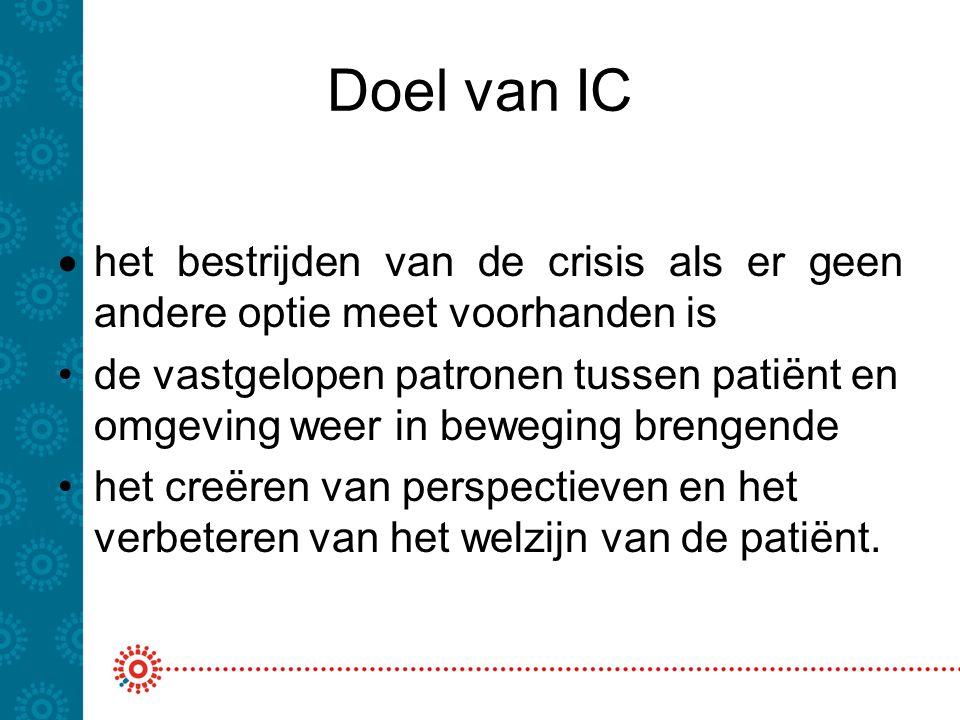 Doel van IC  het bestrijden van de crisis als er geen andere optie meet voorhanden is de vastgelopen patronen tussen patiënt en omgeving weer in bewe