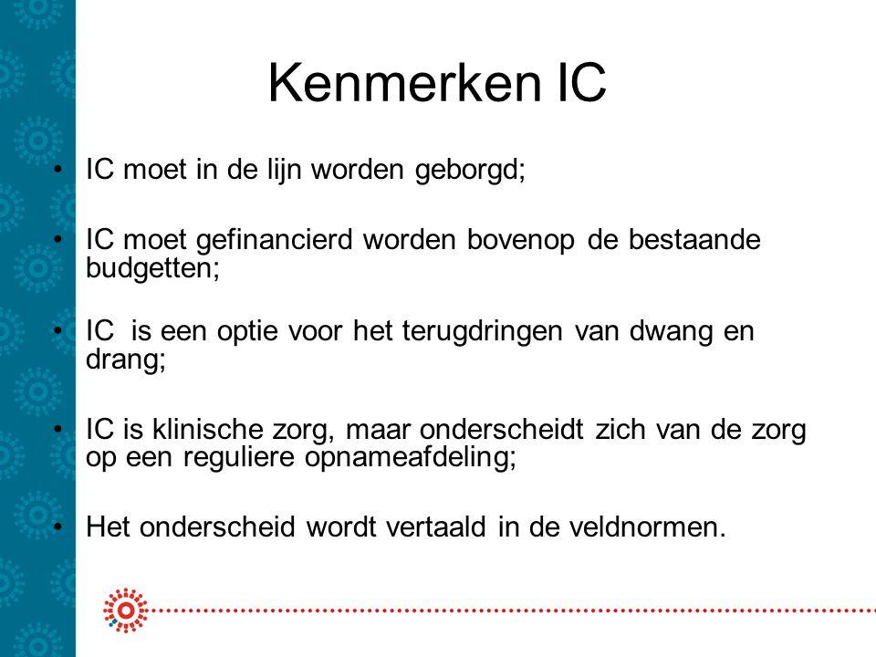 Kenmerken IC IC moet in de lijn worden geborgd; IC moet gefinancierd worden bovenop de bestaande budgetten; IC is een optie voor het terugdringen van