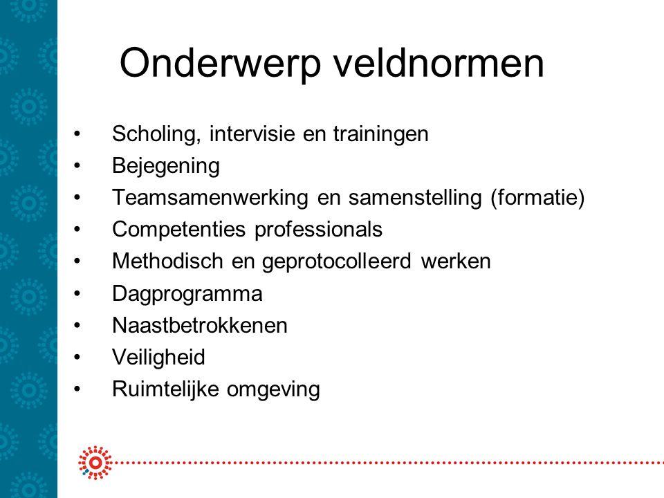 Onderwerp veldnormen Scholing, intervisie en trainingen Bejegening Teamsamenwerking en samenstelling (formatie) Competenties professionals Methodisch