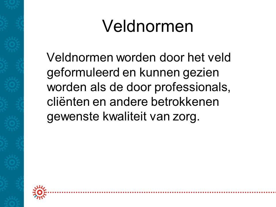 Samen met het veld GGZ Nederland ontwikkelt de veldnormen in overleg met: - expertgroep - focusgroepen - platform Dwang & Drang - commissie Zorgvisie & Normering - LPGGZ, IGZ, beroepsgroepen en WVS