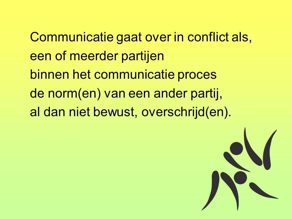 Communicatie gaat over in conflict als, een of meerder partijen binnen het communicatie proces de norm(en) van een ander partij, al dan niet bewust, o