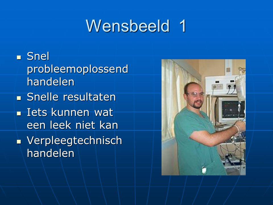 Wensbeeld 1 Snel probleemoplossend handelen Snel probleemoplossend handelen Snelle resultaten Snelle resultaten Iets kunnen wat een leek niet kan Iets