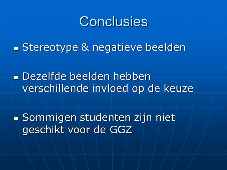 Conclusies Stereotype & negatieve beelden Stereotype & negatieve beelden Dezelfde beelden hebben verschillende invloed op de keuze Dezelfde beelden hebben verschillende invloed op de keuze Sommigen studenten zijn niet geschikt voor de GGZ Sommigen studenten zijn niet geschikt voor de GGZ