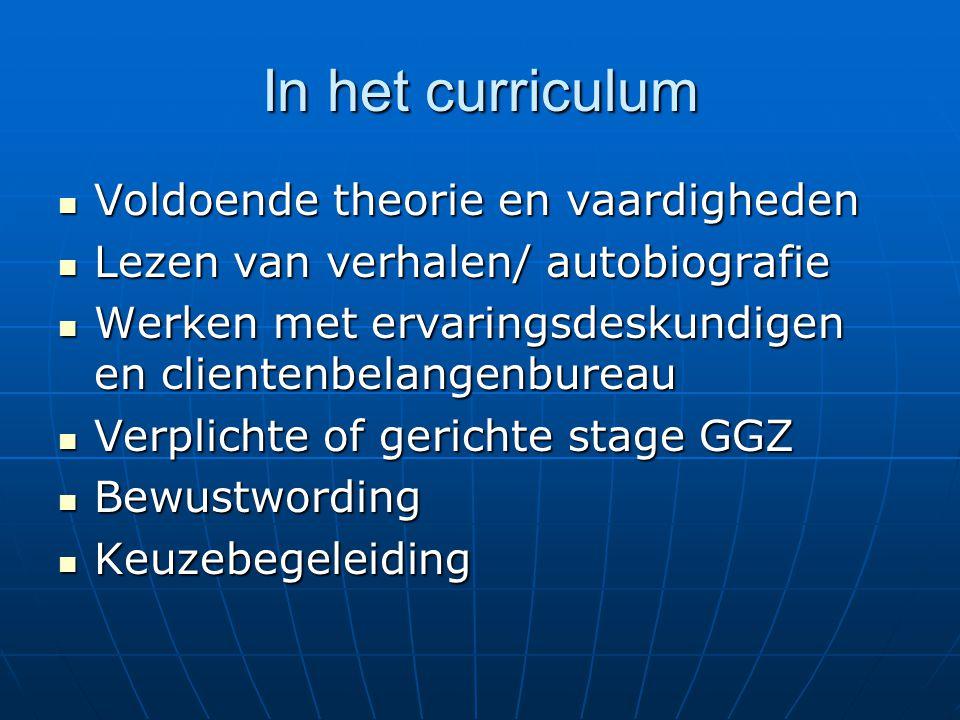 In het curriculum Voldoende theorie en vaardigheden Voldoende theorie en vaardigheden Lezen van verhalen/ autobiografie Lezen van verhalen/ autobiogra