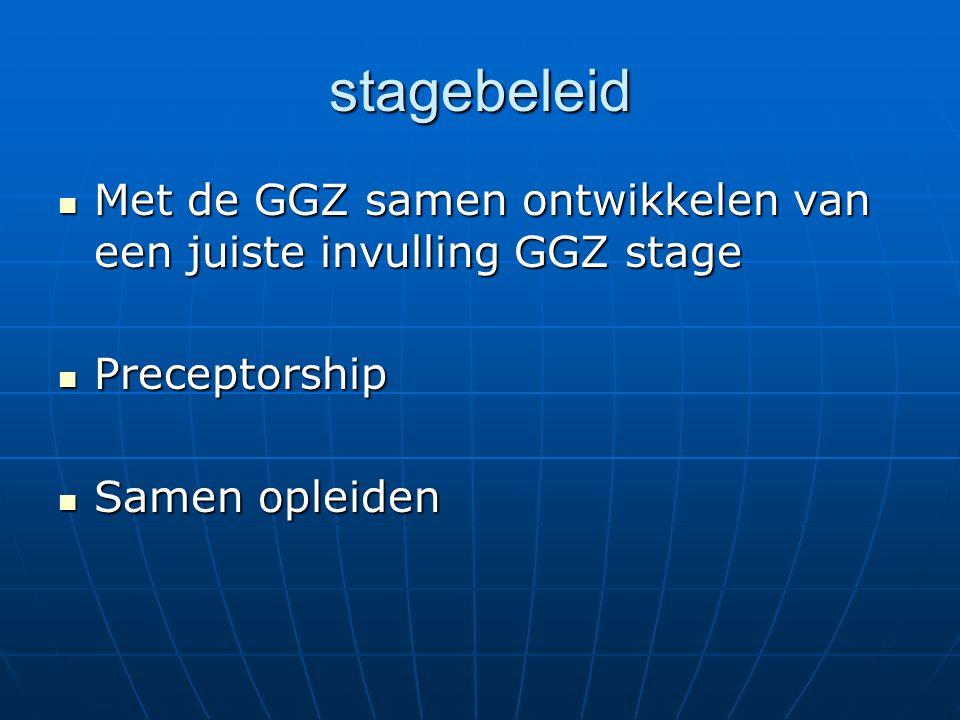stagebeleid Met de GGZ samen ontwikkelen van een juiste invulling GGZ stage Met de GGZ samen ontwikkelen van een juiste invulling GGZ stage Preceptorship Preceptorship Samen opleiden Samen opleiden