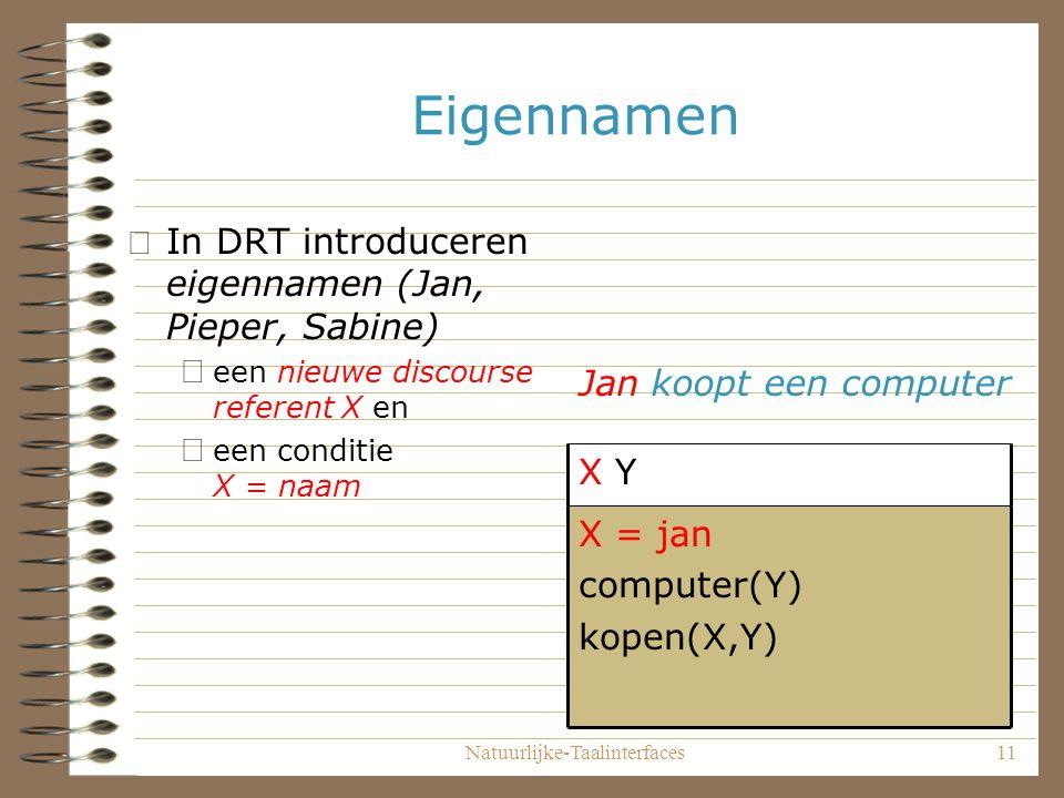 Natuurlijke-Taalinterfaces11 Eigennamen •In DRT introduceren eigennamen (Jan, Pieper, Sabine) – een nieuwe discourse referent X en – een conditie X = naam X = jan computer(Y) kopen(X,Y) X Y Jan koopt een computer