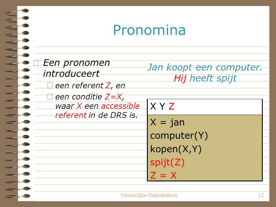 Natuurlijke-Taalinterfaces12 Pronomina •Een pronomen introduceert – een referent Z, en – een conditie Z=X, waar X een accessible referent in de DRS is.