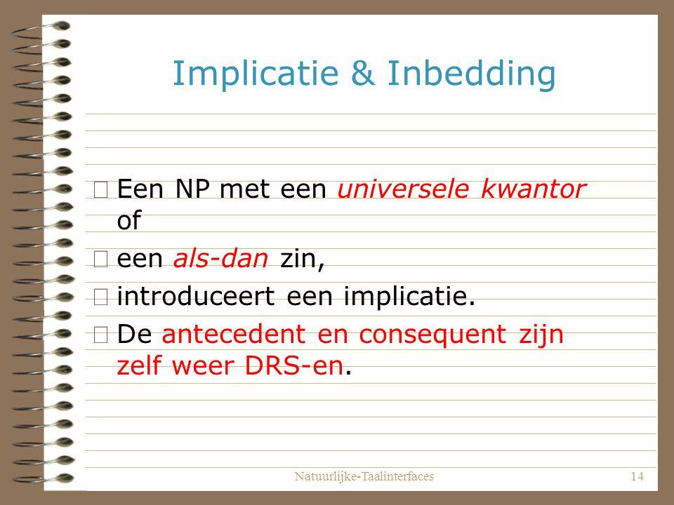 Natuurlijke-Taalinterfaces14 Implicatie & Inbedding •Een NP met een universele kwantor of •een als-dan zin, •introduceert een implicatie.