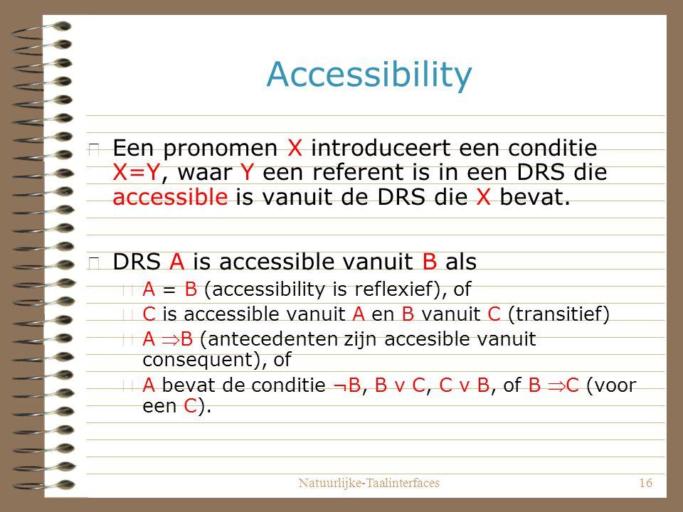 Natuurlijke-Taalinterfaces16 Accessibility • Een pronomen X introduceert een conditie X=Y, waar Y een referent is in een DRS die accessible is vanuit de DRS die X bevat.