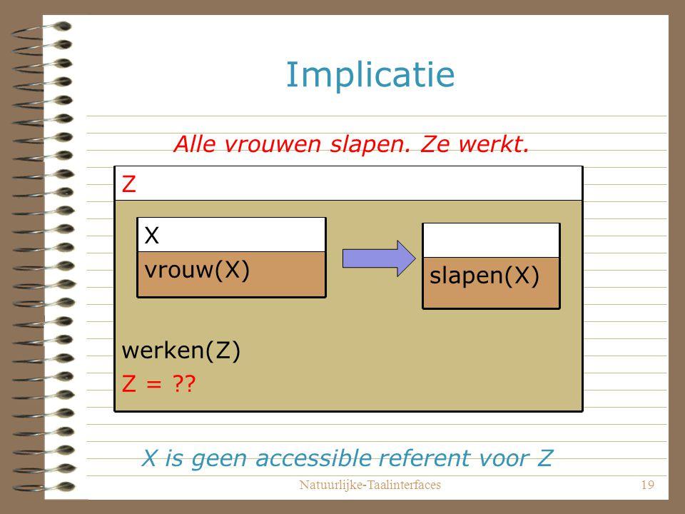 Natuurlijke-Taalinterfaces19 Implicatie werken(Z) Z = .