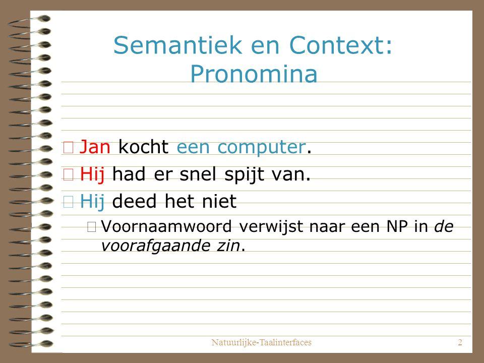 Natuurlijke-Taalinterfaces13 Pronomina X = jan computer(Y) kopen(X,Y) doen(Z) Z = Y X Y Z Jan koopt een computer.