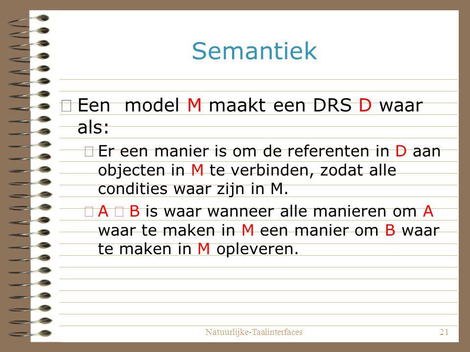 Natuurlijke-Taalinterfaces21 Semantiek •Een model M maakt een DRS D waar als: –Er een manier is om de referenten in D aan objecten in M te verbinden, zodat alle condities waar zijn in M.