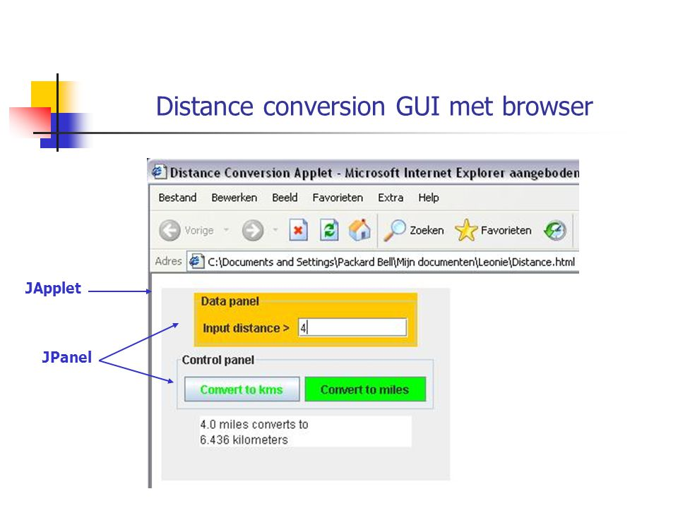 Distance conversion GUI met browser JApplet JPanel