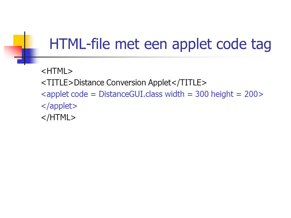 HTML-file met een applet code tag Distance Conversion Applet