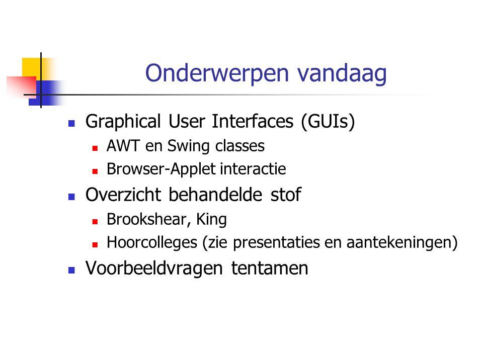 Onderwerpen vandaag Graphical User Interfaces (GUIs) AWT en Swing classes Browser-Applet interactie Overzicht behandelde stof Brookshear, King Hoorcolleges (zie presentaties en aantekeningen) Voorbeeldvragen tentamen
