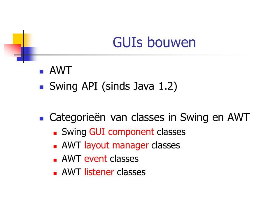 Deel van AWT en Swing hierarchie Object Component Container Panel Applet JAppletJComponent JTextComponent JTextAreaJTextField AbstractButtonJPanelJOptionPaneJLabel JButton