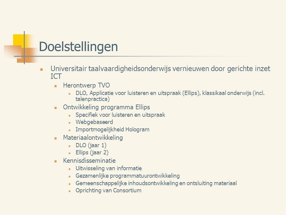 Doelstellingen Universitair taalvaardigheidsonderwijs vernieuwen door gerichte inzet ICT Herontwerp TVO DLO, Applicatie voor luisteren en uitspraak (Ellips), klassikaal onderwijs (incl.