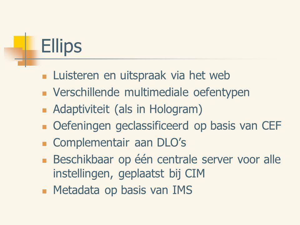 Ellips Luisteren en uitspraak via het web Verschillende multimediale oefentypen Adaptiviteit (als in Hologram) Oefeningen geclassificeerd op basis van CEF Complementair aan DLO's Beschikbaar op één centrale server voor alle instellingen, geplaatst bij CIM Metadata op basis van IMS