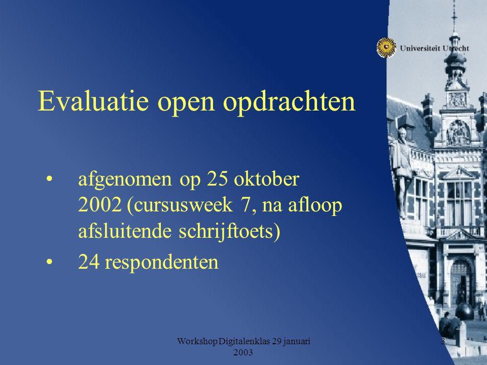 Workshop Digitalenklas 29 januari 2003 3 Evaluatie open opdrachten afgenomen op 25 oktober 2002 (cursusweek 7, na afloop afsluitende schrijftoets) 24 respondenten
