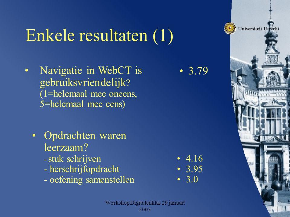 Workshop Digitalenklas 29 januari 2003 5 Enkele resultaten (1) Navigatie in WebCT is gebruiksvriendelijk .