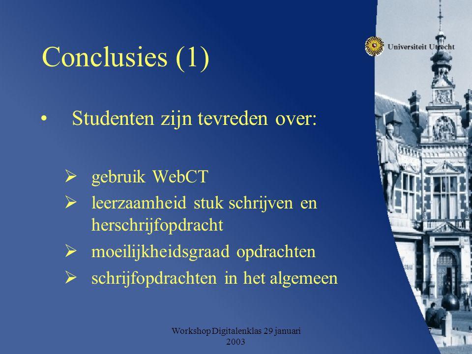 Workshop Digitalenklas 29 januari 2003 7 Conclusies (1) Studenten zijn tevreden over:  gebruik WebCT  leerzaamheid stuk schrijven en herschrijfopdracht  moeilijkheidsgraad opdrachten  schrijfopdrachten in het algemeen