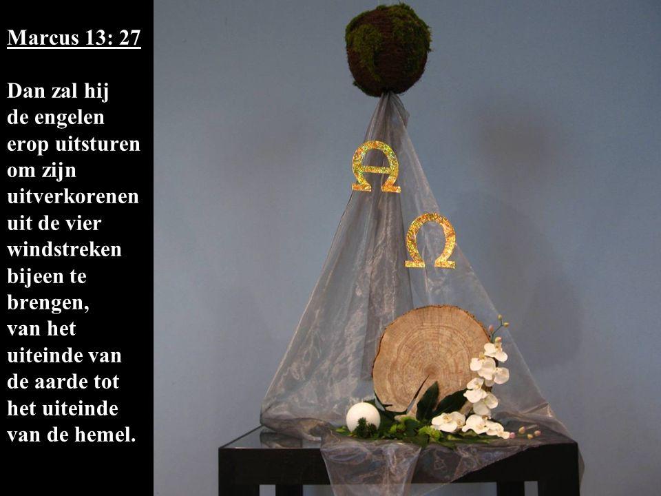 Marcus 13: 27 Dan zal hij de engelen erop uitsturen om zijn uitverkorenen uit de vier windstreken bijeen te brengen, van het uiteinde van de aarde tot het uiteinde van de hemel.