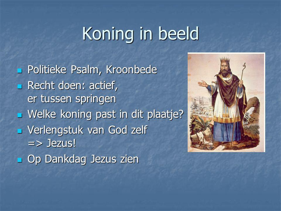 Koning in beeld Politieke Psalm, Kroonbede Politieke Psalm, Kroonbede Recht doen: actief, er tussen springen Recht doen: actief, er tussen springen Welke koning past in dit plaatje.