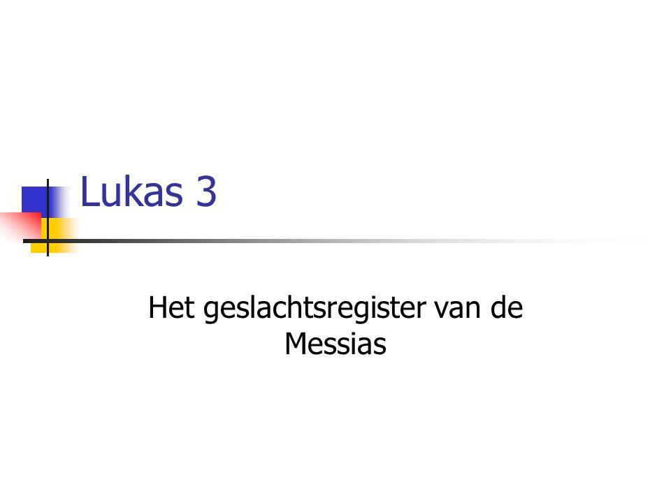 Lukas 3 Het geslachtsregister van de Messias