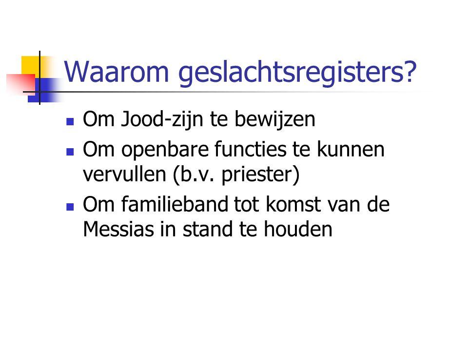 Waarom geslachtsregisters.Om Jood-zijn te bewijzen Om openbare functies te kunnen vervullen (b.v.