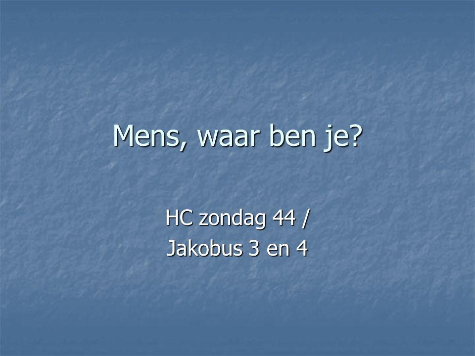 Mens, waar ben je HC zondag 44 / Jakobus 3 en 4