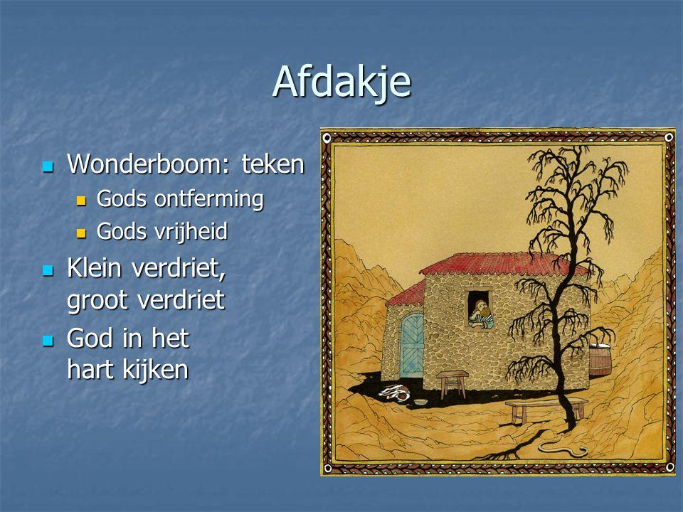 Afdakje Wonderboom: teken Wonderboom: teken Gods ontferming Gods ontferming Gods vrijheid Gods vrijheid Klein verdriet, groot verdriet Klein verdriet,