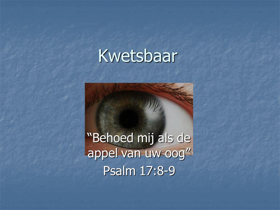 """Kwetsbaar """"Behoed mij als de appel van uw oog"""" Psalm 17:8-9"""