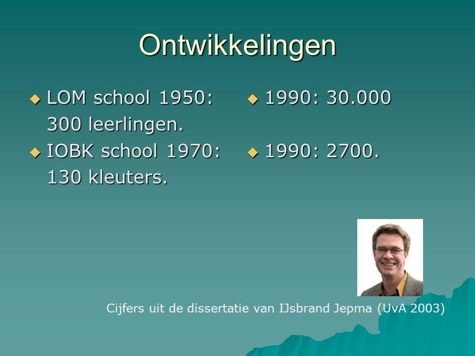 Ontwikkelingen  LOM school 1950: 300 leerlingen.  IOBK school 1970: 130 kleuters.