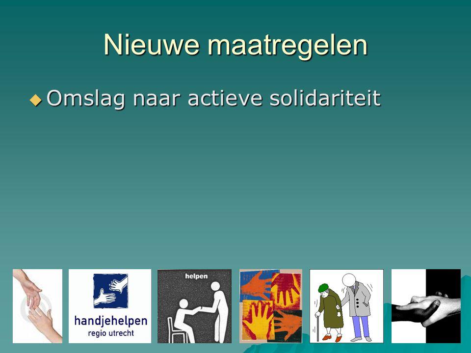 Nieuwe maatregelen  Omslag naar actieve solidariteit