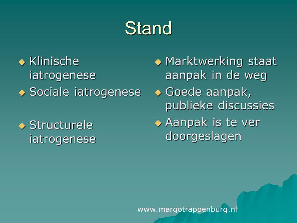Stand  Klinische iatrogenese  Sociale iatrogenese  Structurele iatrogenese  Marktwerking staat aanpak in de weg  Goede aanpak, publieke discussie