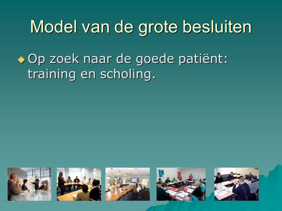 Model van de grote besluiten  Op zoek naar de goede patiënt: training en scholing.