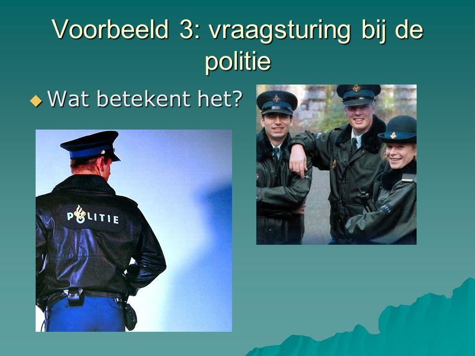 Voorbeeld 3: vraagsturing bij de politie  Wat betekent het