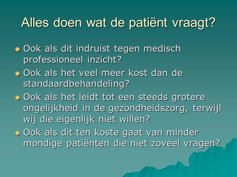 Alles doen wat de patiënt vraagt. Ook als dit indruist tegen medisch professioneel inzicht.