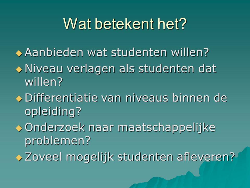 Wat betekent het. Aanbieden wat studenten willen.