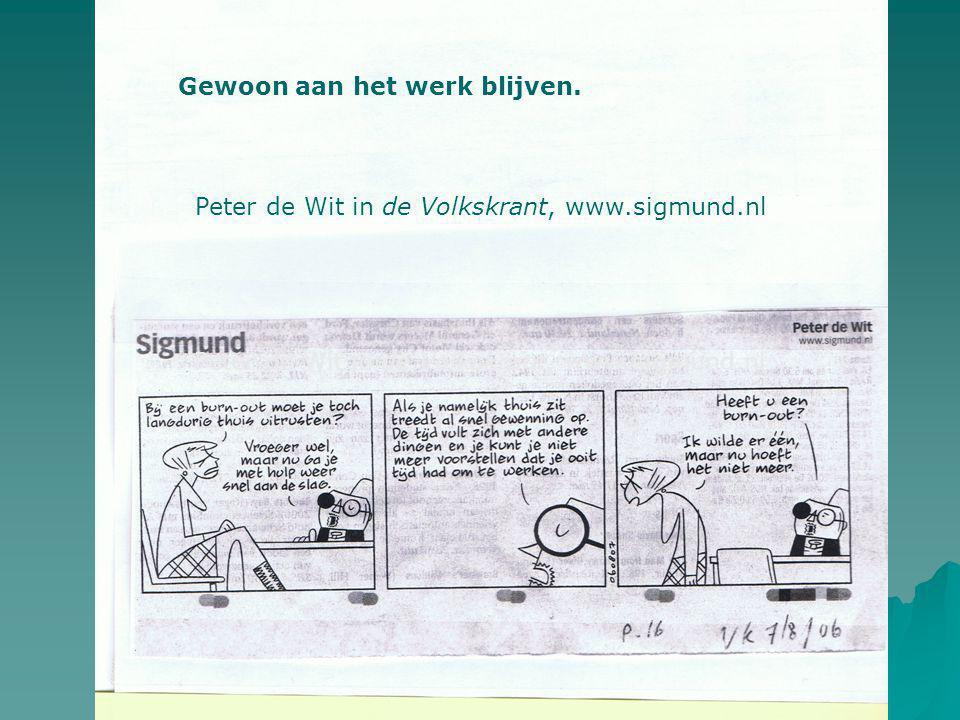 Peter de Wit in de Volkskrant, www.sigmund.nl Gewoon aan het werk blijven.