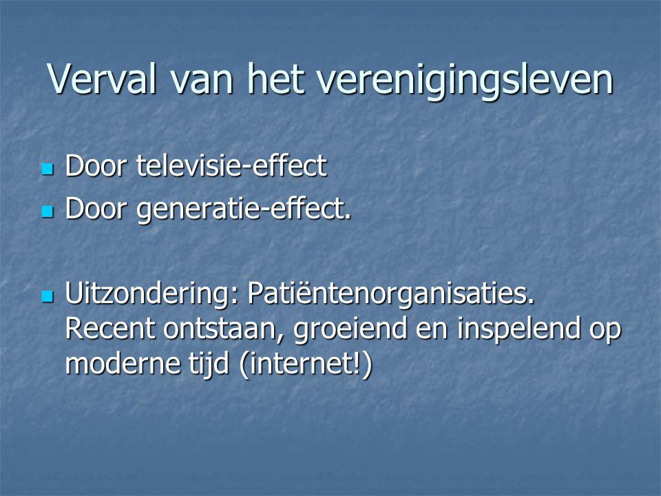 Verval van het verenigingsleven Door televisie-effect Door televisie-effect Door generatie-effect.