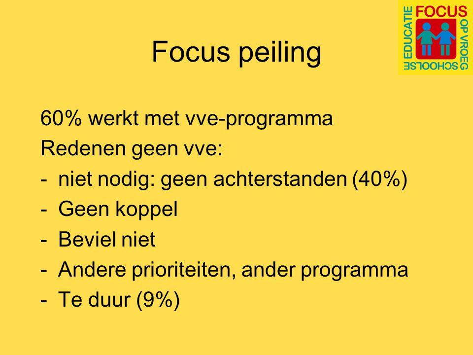 Focus peiling Knelpunten bij vroegschoolse educatie: Realiseren dubbele bezetting (47%) Geldgebrek (37%, bij schoolbesturen 63%) Kennisverlies door mobiliteit personeel (32%)