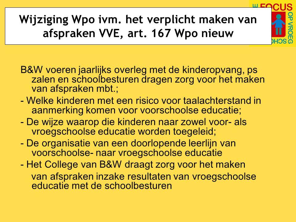 Wijziging Wpo ivm.het verplicht maken van afspraken VVE; sancties art.