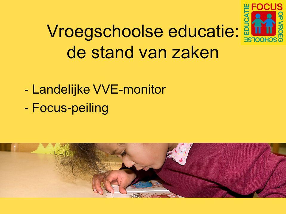 VVE-monitor VVE vroegschool: Aanbod op 57% van de oab-basisscholen Ook 57% van de doelgroepkleuters bereikt (streng: 52%) Was 67%
