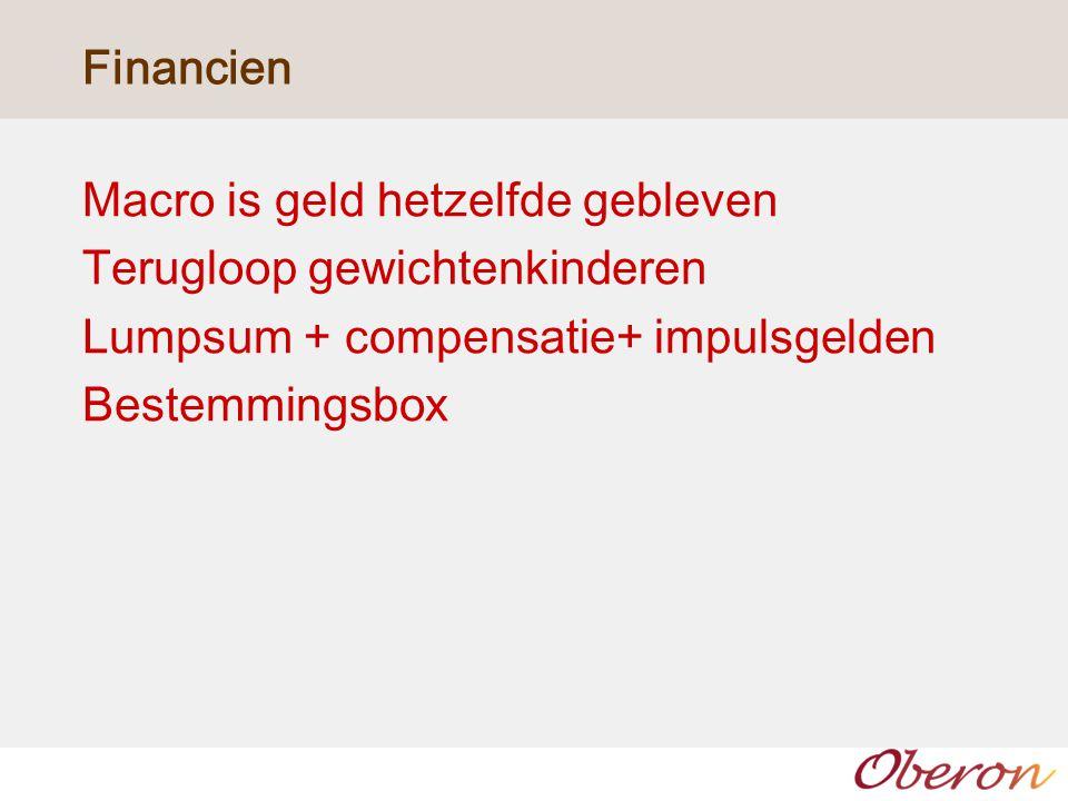 Financien Macro is geld hetzelfde gebleven Terugloop gewichtenkinderen Lumpsum + compensatie+ impulsgelden Bestemmingsbox