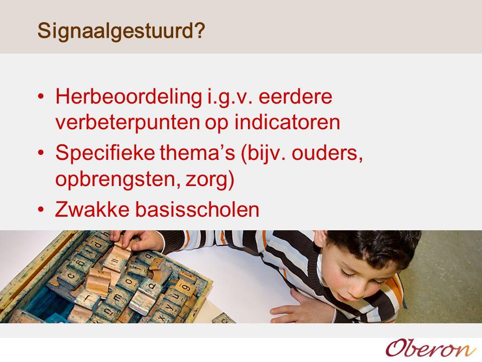 Signaalgestuurd? Herbeoordeling i.g.v. eerdere verbeterpunten op indicatoren Specifieke thema's (bijv. ouders, opbrengsten, zorg) Zwakke basisscholen