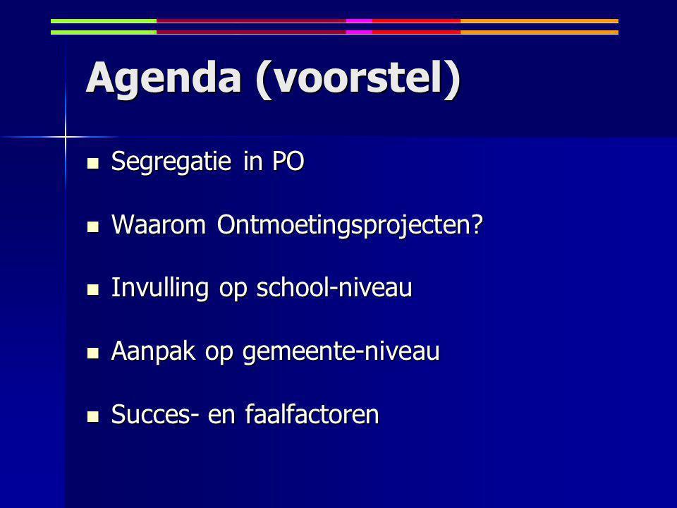 Agenda (voorstel) Segregatie in PO Segregatie in PO Waarom Ontmoetingsprojecten.