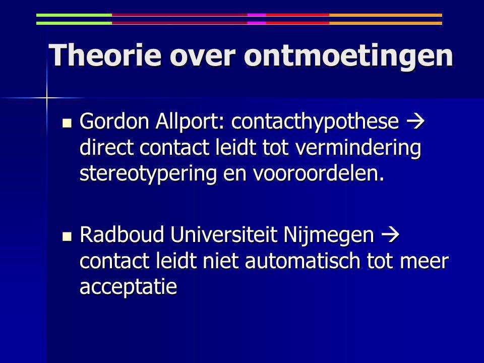 Theorie over ontmoetingen Gordon Allport: contacthypothese  direct contact leidt tot vermindering stereotypering en vooroordelen.