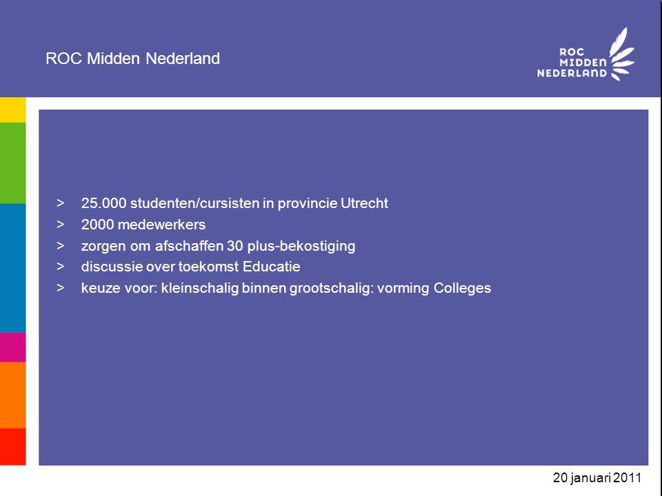 20 januari 2011 ROC Midden Nederland >25.000 studenten/cursisten in provincie Utrecht >2000 medewerkers >zorgen om afschaffen 30 plus-bekostiging >dis