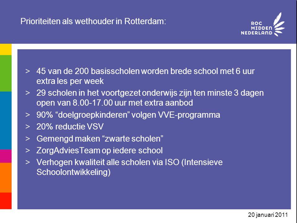 Prioriteiten als wethouder in Rotterdam: >45 van de 200 basisscholen worden brede school met 6 uur extra les per week >29 scholen in het voortgezet onderwijs zijn ten minste 3 dagen open van 8.00-17.00 uur met extra aanbod >90% doelgroepkinderen volgen VVE-programma >20% reductie VSV >Gemengd maken zwarte scholen >ZorgAdviesTeam op iedere school >Verhogen kwaliteit alle scholen via ISO (Intensieve Schoolontwikkeling)
